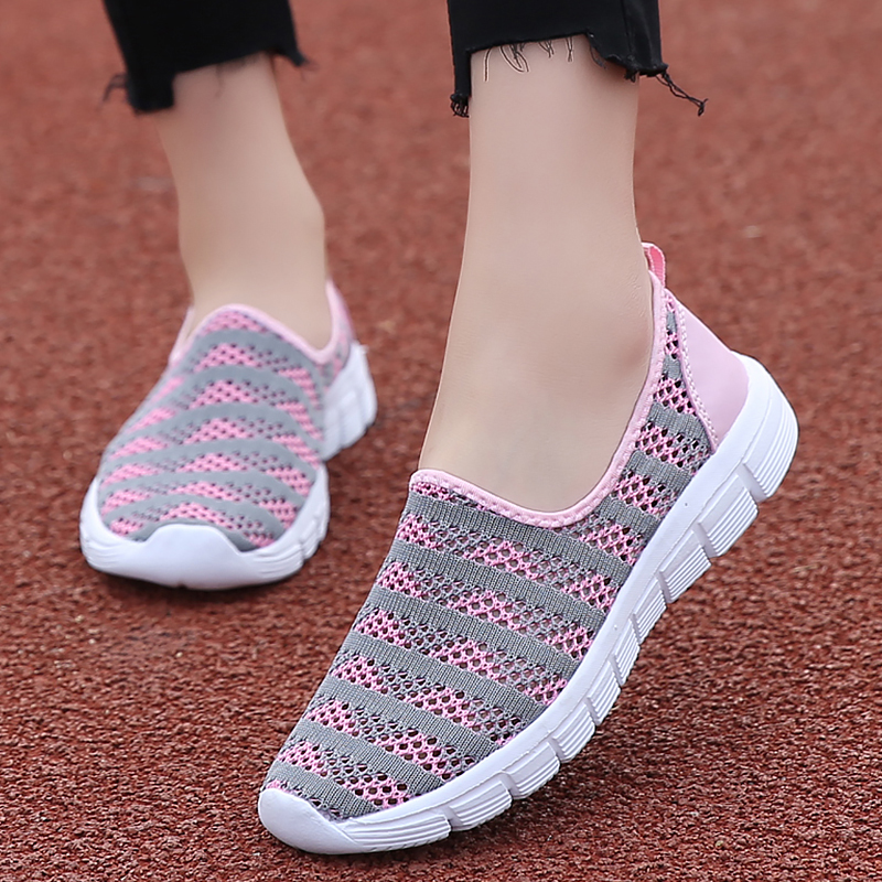 Hot Sale Summer Hollow Flat shoes woman Slip on Striped Loafers women Cozy Breathable Mesh Casual shoes for women Fashion Flats 2020