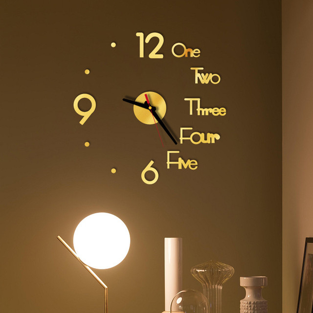 DIY Creative Wall Clock Modern Design Decorative 3D Acrylic Mirror Surface Sticker HomeLiving Room Office Decor Wallclock 20#27 5