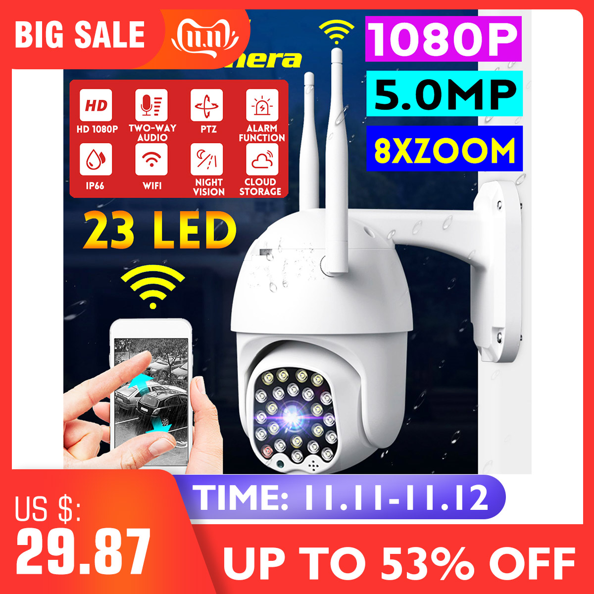 1080P HD PTZ IP Camera Wifi Outdoor Speed Dome CCTV Security Camera 8X Digital Zoom 5MP Network IR Home Surveillance Camera