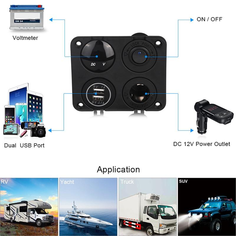 Переключателем выключателем вкл/выкл Панель Dual USB Зарядное устройство гнездо для автомобильного прикуривателя вольтметр для автомобиля ...