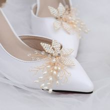 Buy Shoe Clip Handmade Pearl Luxury Wedding Shoes Bride High Heel Decoration Floral Decoration Charms Accessories directly from merchant!