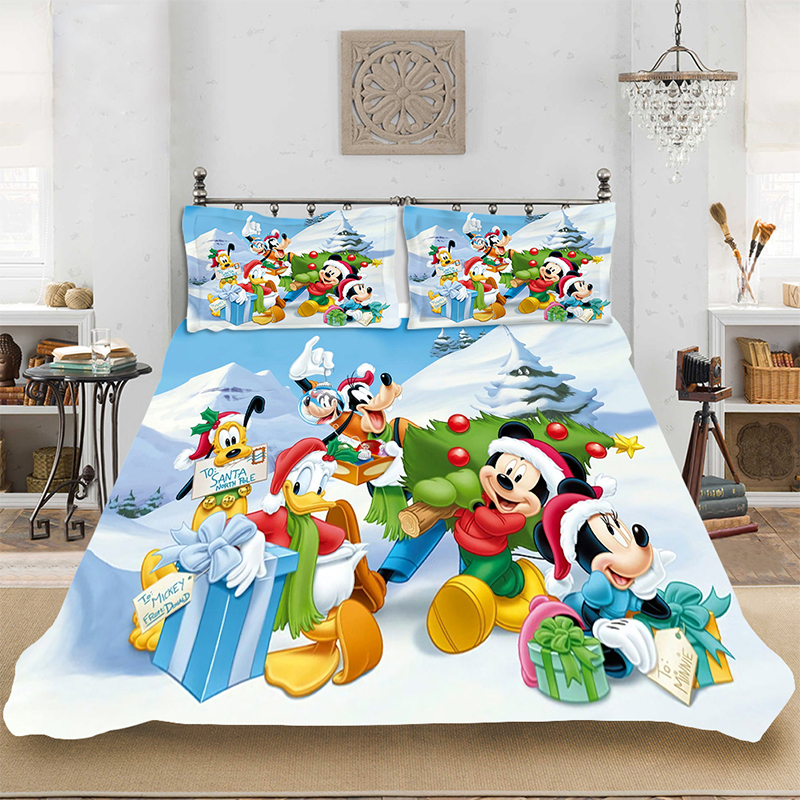 Christmas Mickey Winter King-Full Size Soft Bedding set Bedclothes Include Duvet Cover Pillowcase Print Home Textile Bed Linens
