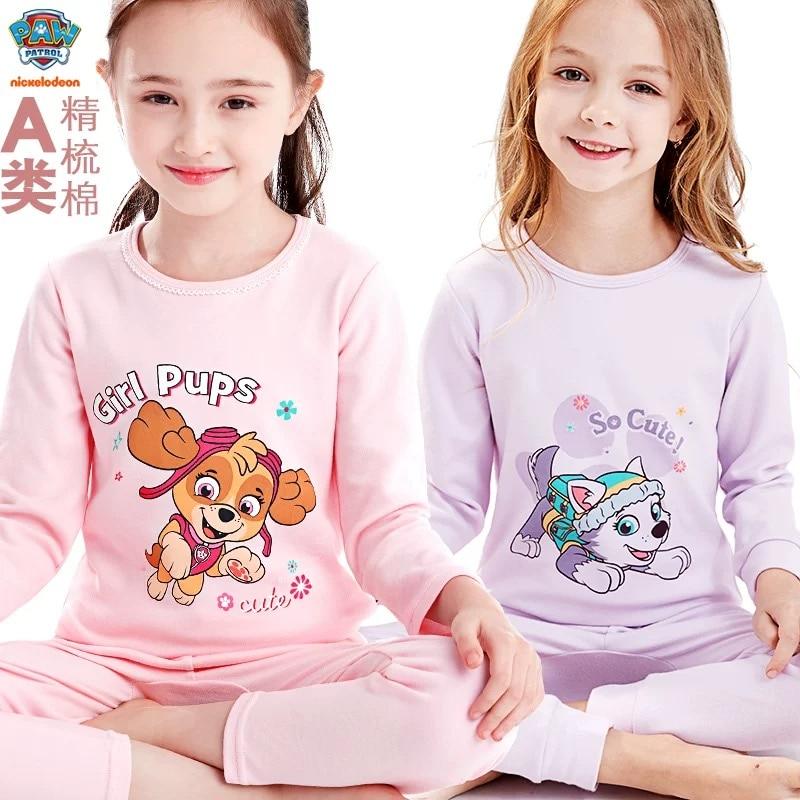 1 Set Genuine Paw Patrol Children's Pajamas Princess Skye Everest Baby Cartoon Comfortable Pure Cotton Chase Kids Birthday Gift