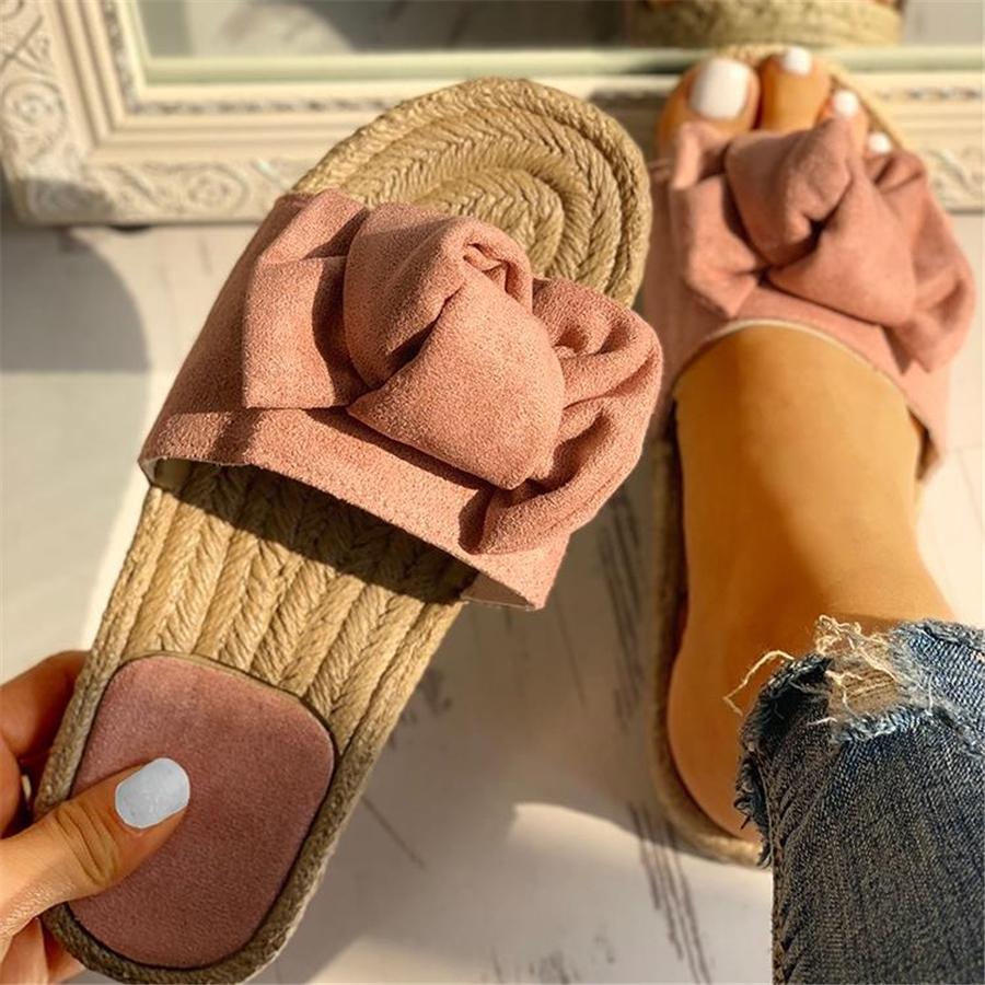 2020 Bow Summer Sandals Slipper Women Summer Beach Indoor Linen Flip-flops Female Flat Sandals Female Fashion Floral Shoes