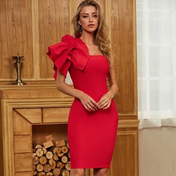ADYCE 2020 New Summer Red One Shoulder Ruffles Women Bodycon Bandage Dress Sexy Sleeveless Celebrity Runway Club Party Dresses adyce off shoulder bodycon bandage dress women sexy red spaghetti strap knee length club celebrity evening runway party dresses
