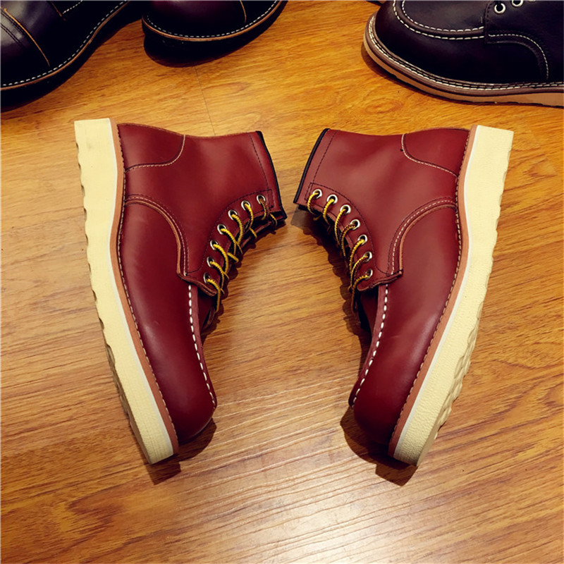 Luxury Brand Handmade Vintage Men Shoes High Quality Genuine Leather Red Ankle Boots Wings Motorcycle Boots Lace-up Work Boots