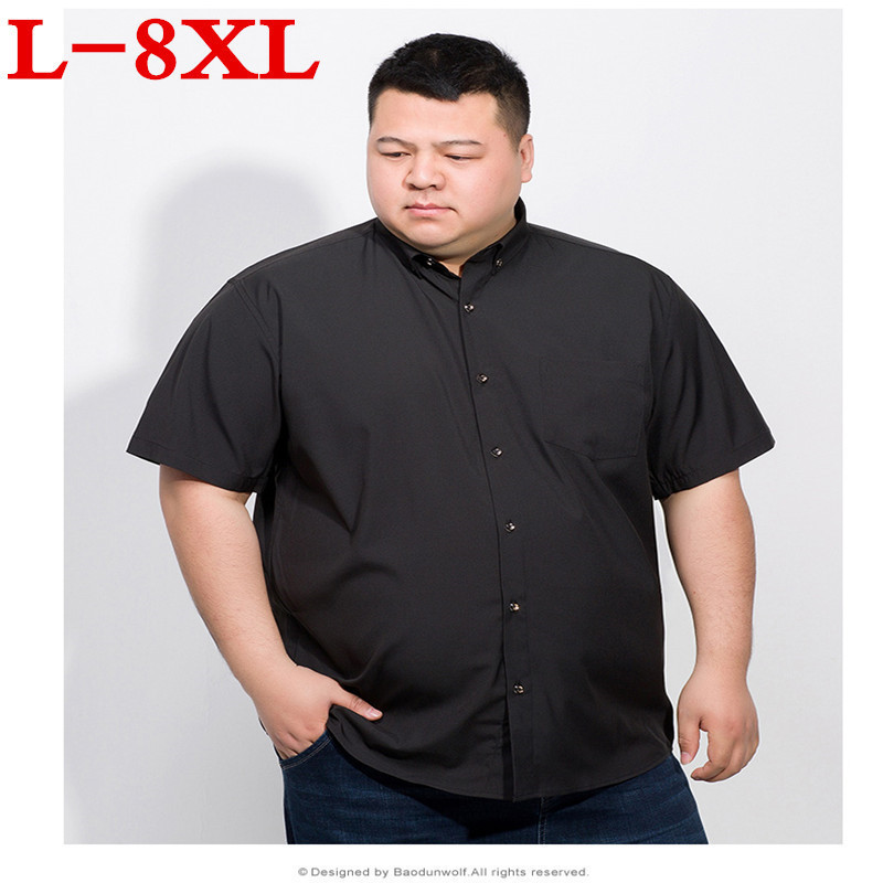 Plus Size 8XL 7XL  Summer Cotton Men Short Sleeve Shirts Solid Business Working Wear Casual Male Shirts Casual Shirt Oxford