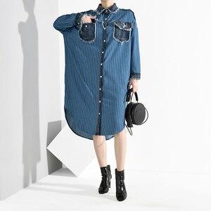 Image 5 - [EAM] Women Blue Denim Burr Striped Big Size Shirt Dress New Lapel Long Sleeve Loose Fit Fashion Tide Spring Autumn 2020 A282