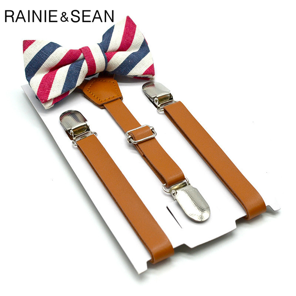RAINIE SEAN Leather Suspenders Kids Brown Braces Belt Boys Girls Adjustable 3 Clips Fashion Bow Tie And Suspender Set Unisex