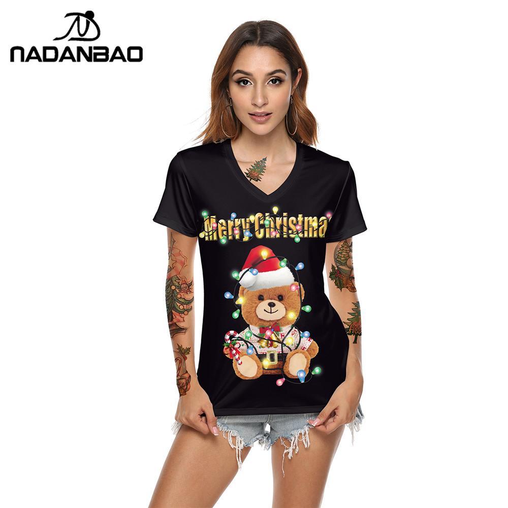NADANBAO New Merry Christmas T-shirt Women Hat Bear Printing Elastic Short Sleeve Tops Female Fashion Clothing New Year T Top