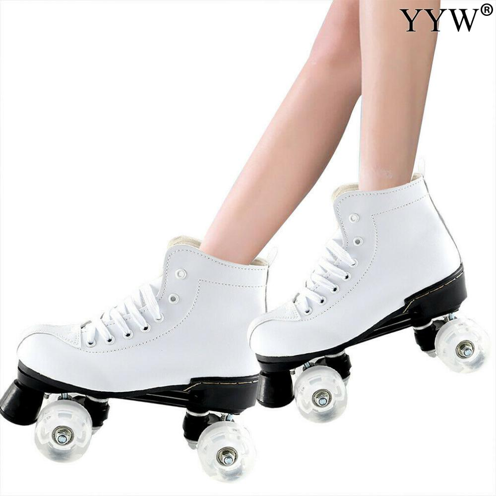 Double Line Skates Patines Artificial Leather Roller Skates Women Men Adult Two Line Skate Shoes White PU 4 Wheels Patins
