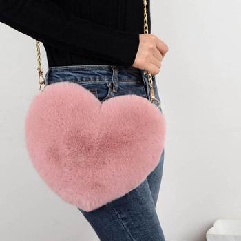 2020 Fashion Women's Heart Shaped Handbags Cute Kawaii Faux Fur Crossbody Bags Wallet Purse Chain Shoulder Bag Lady Handbag
