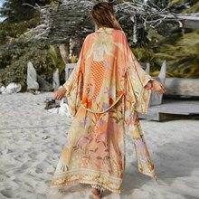 Ayuolin – cardigan kimono imprimé floral pour femmes, long chemisier, cover-up pour la plage, style boho, kaftan, été, 2020