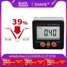 ใหม่อลูมิเนียมEncloseอิเล็กทรอนิกส์เครื่องวัดมุมInclinometer Bevelกล่องมุมระดับแม่เหล็กภายในดิจิตอลInclinometerมุม