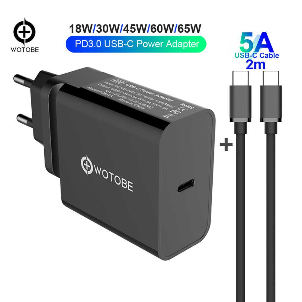 USB C PD/QC3.0 65 W/60 W/45 W/30 W TYPE-C Wall charger, สำหรับ USB-C แล็ปท็อป/MacBook/iPad/Xiaomi/Samsung (USB-C สาย)