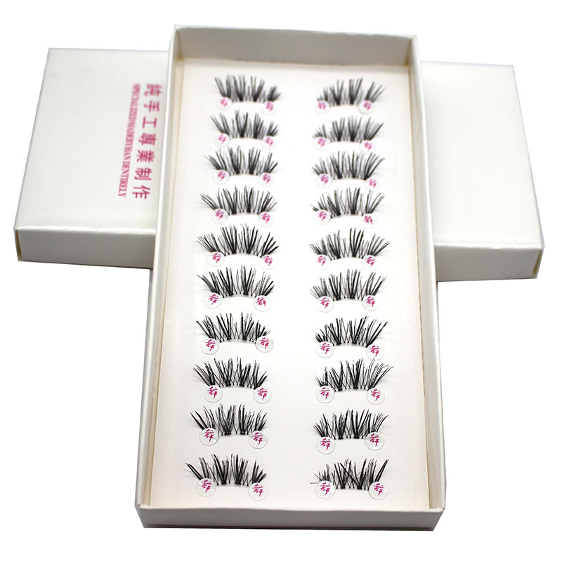 10 Pairs Half Mini Coner Winged Cross False Eyelashes Soft Eye Lashes Handmade Soft Eye Makeup Extension Tools