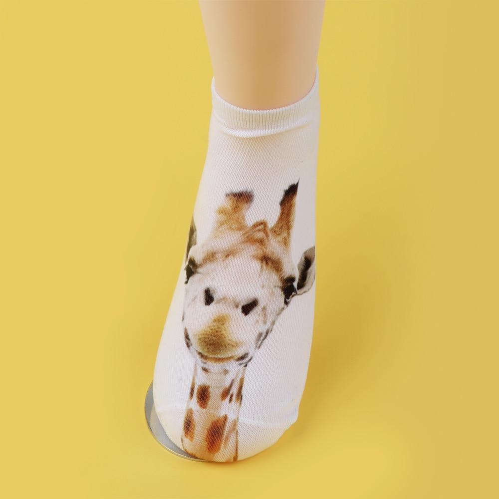 1Pair Soft Men Women Fashion Low Cut Ankle Socks Cotton 3D Printed Animal Socks