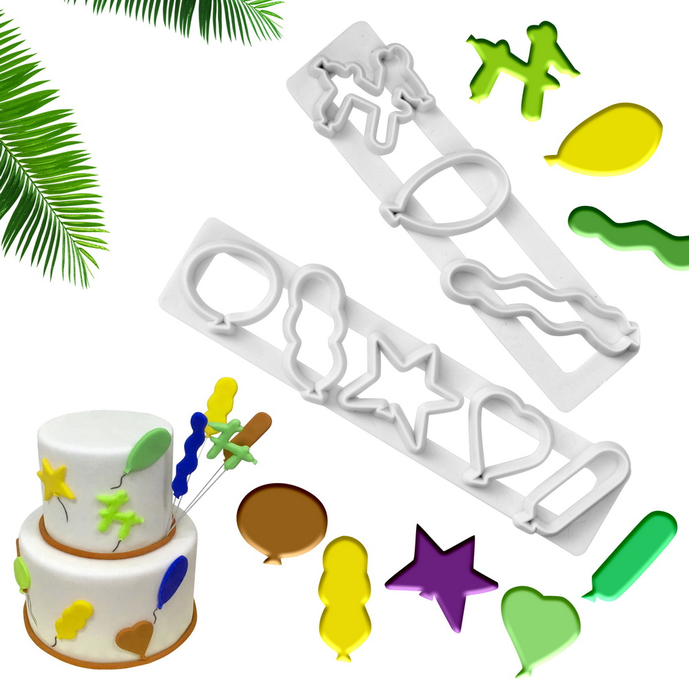 Cake Tools Fondant Cake Mold 2Pcs/Set Bakeware Embossed Molds Plastic Balloon Shape Biscuits Cutter Cake Decorating Tool