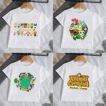 Été Enfants Animal Crossing T-shirt Coton Bébé Manches Courtes T-shirt Enfants Bande Dessinée Impression Vêtements Garçons Filles 2-14Y Té Hauts