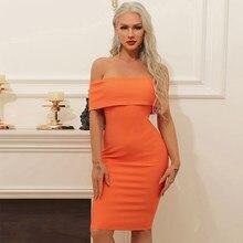 Ocstrade Hors Épaule Bandage Robe 2021 Nouveauté Orange Sexy Bandage Robe Moulante Femmes D'été Club Robe De Soirée Tenues