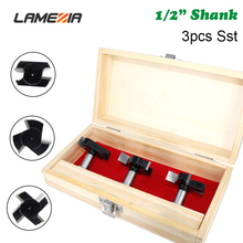 LAMEZIA 3pcs 1/2 Handle Carbide T-Slot Milling Cutters Kit Four-edge Slot Knife For Woodworking Carving Professional Hand Tools
