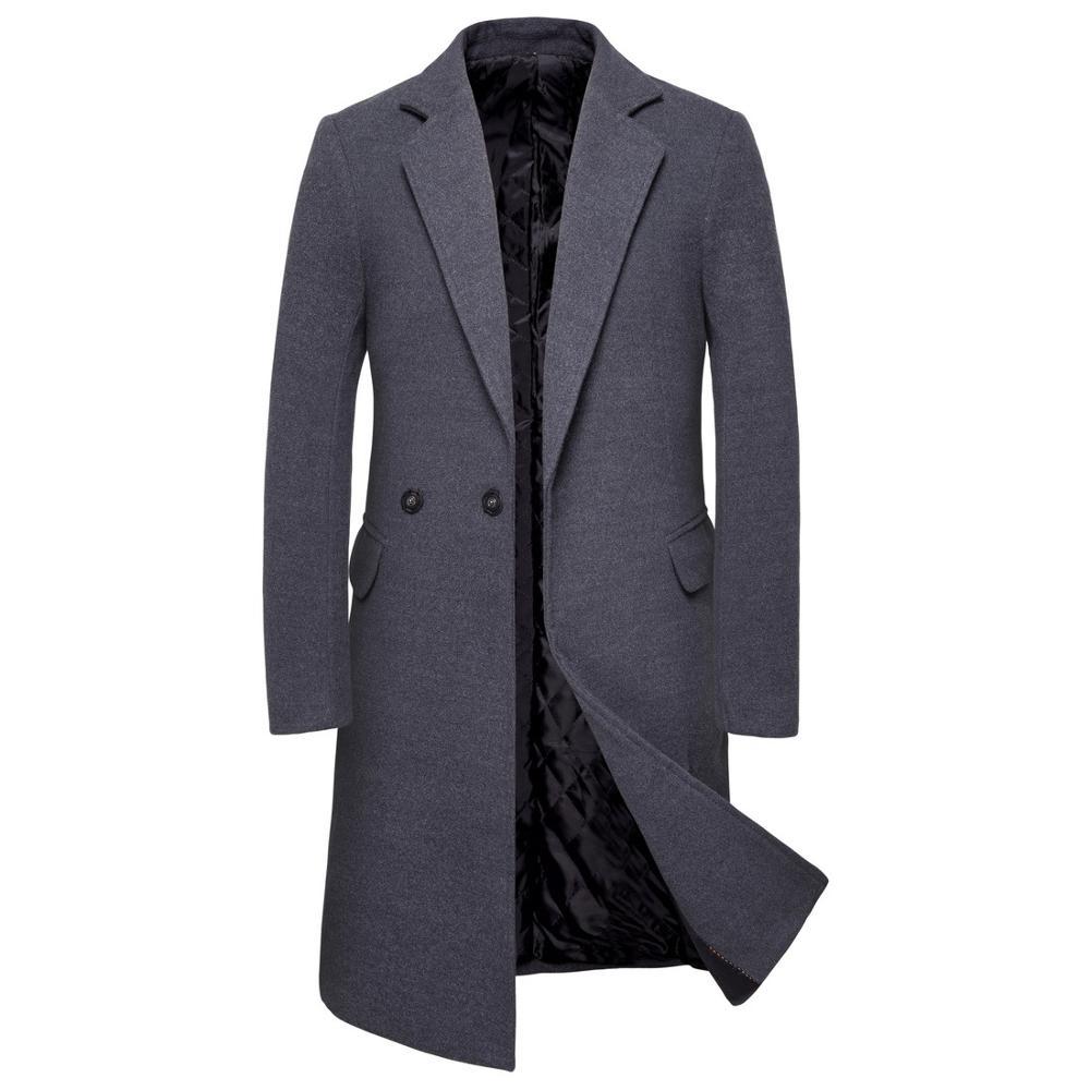 Winter Woolen Coat Male Double Breasted Overcoat Wool Men Coat Black Long Sleeve Thick Warm Blend Coat
