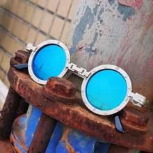 Eski erkek güneş gözlüğü kadın Retro buhar Punk stil yuvarlak Metal çerçeve renkli ayna lens güneş gözlüğü gözlük Gafas sol mujer