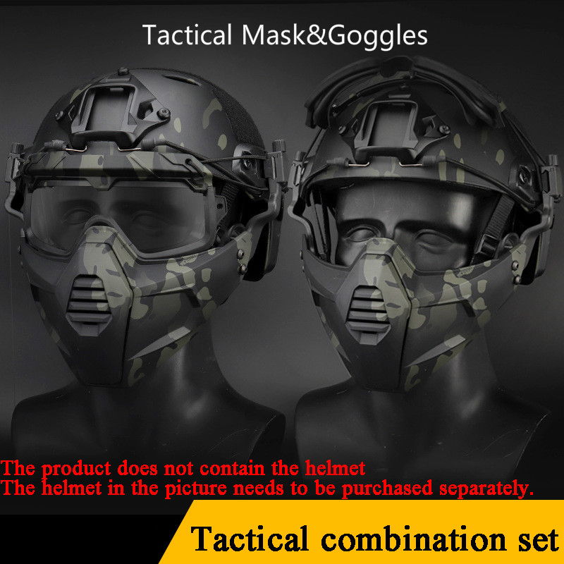 Tactical Mask With Goggles Outdoor Military Hunting Protective Shooting Paintball Masks Safety Airsoft Army Antu-uv Cs Goggles