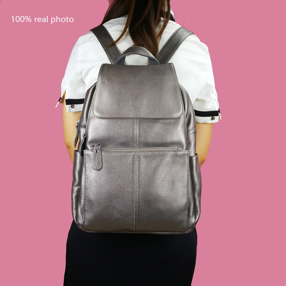 Image 5 - ZENCY 13 Colors Backpack 100% Real Genuine Cow Leather Cowhide Women's Female Top Layer Cow Leather School Book Backpacks Bags-in Backpacks from Luggage & Bags