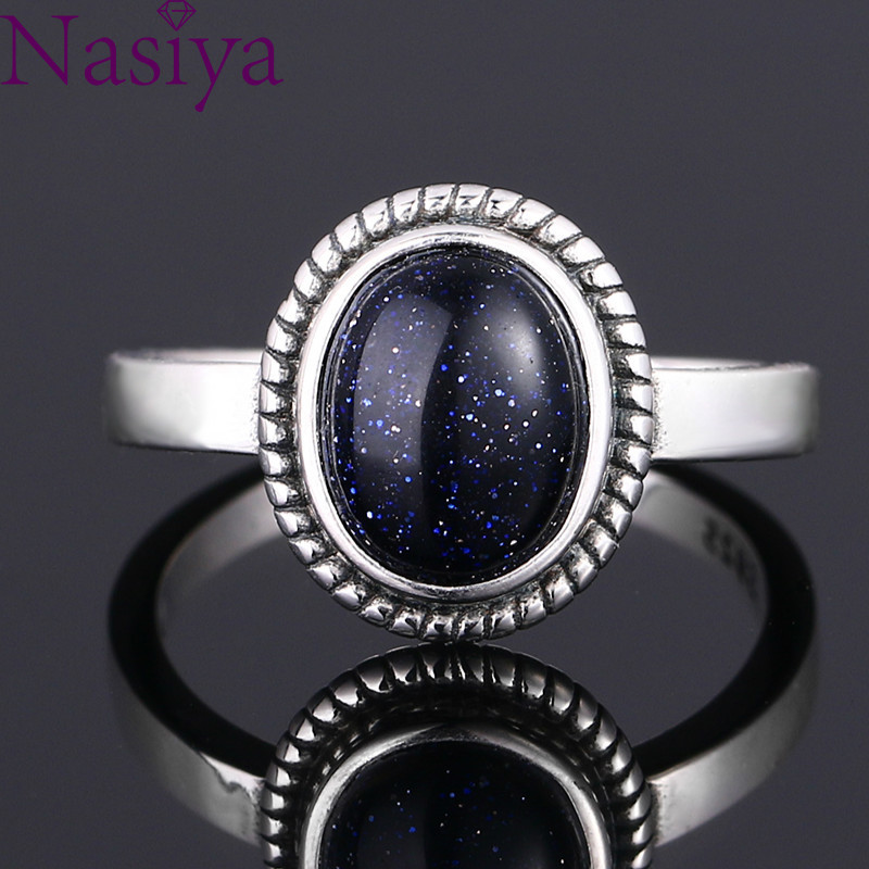New Fashion 8x10 MM Oval Blue Sandstone Rings Women's 925 Silver Jewelry Moonstone Ring Wholesale Gifts Vintage Fine