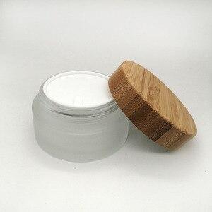 Image 2 - Frasco vacío de crema de vidrio esmerilado, tapa de bambú ecológica, para el cuidado de la piel, 30g, 50g, 100g