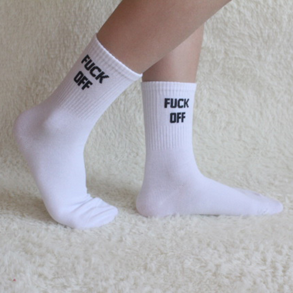 New Simple Fashion Men's Women's Unisex Letters Casual F-Off Printed Skateboard Funny Socks
