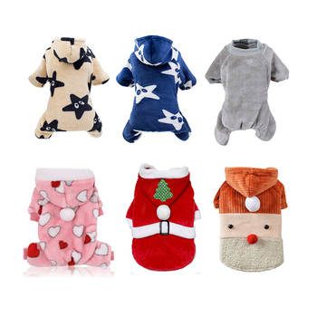 Warm Pet Dog Hooded Pajamas Flannel Jumpsuit Clothes Winter Warm Pajamas Cute Thickening Hooded Jackets Cartoon Clothes Products