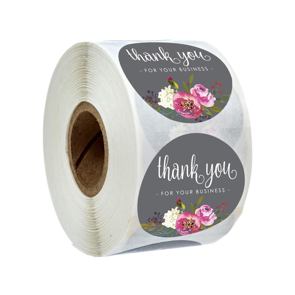 Thank You For Your Business Sticker Seal Labels Round Multi Color Flower Design 500 Labels Sticker Per Roll For Cute Stickers