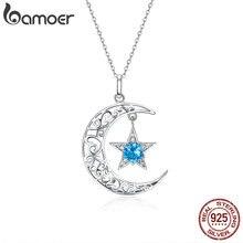 BAMOER רומנטי 925 סטרלינג כסף נוצץ ירח וכוכב שרשראות תליוני עבור נשים אופנה שרשרת תכשיטי מתנה SCN278