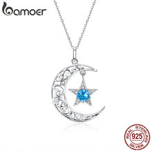 BAMOER Romantic 925 Sterling Silver Sparkling Moon And Star Necklaces Pendants for Women Fashion Necklace Jewelry Gift SCN278 cheap Pendant Necklaces GDTC Zircon 925 Sterling Engagement Other Artificial material original design TRENDY 3*2cm Anniversary Engagement Gift Party Wedding