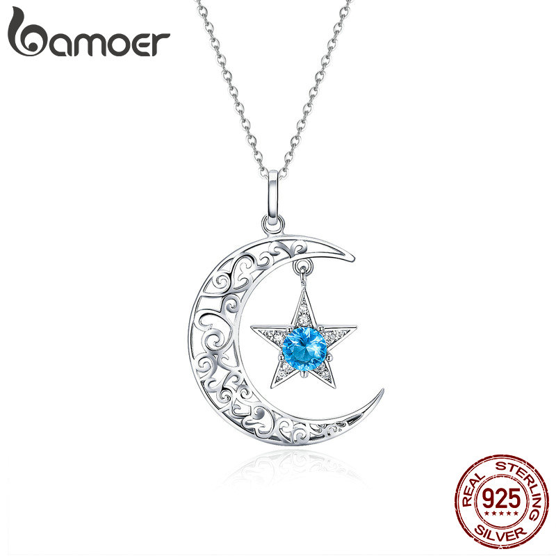 BAMOER Romantic 925 Sterling Silver Sparkling Moon And Star Necklaces Pendants for Women Fashion Necklace Jewelry Gift SCN278