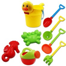 Baby Beach Toys Bath Play Set With Ducks Bucket Sand Tool Model Water Game Sand Playing For Kids(China)
