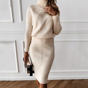 TYHUR jesienny damski dzianinowy kostium z golfem solidny kolorowy pulower sweter + szczupła spódnica dwuczęściowy komplet