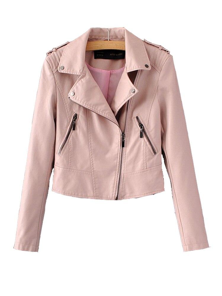 Leather   jacket women   Leather   Jackets Coat Slim Biker Motorcycle Soft Zipper Girl   Leather   Jaquetas De Couro feminina Women Coat