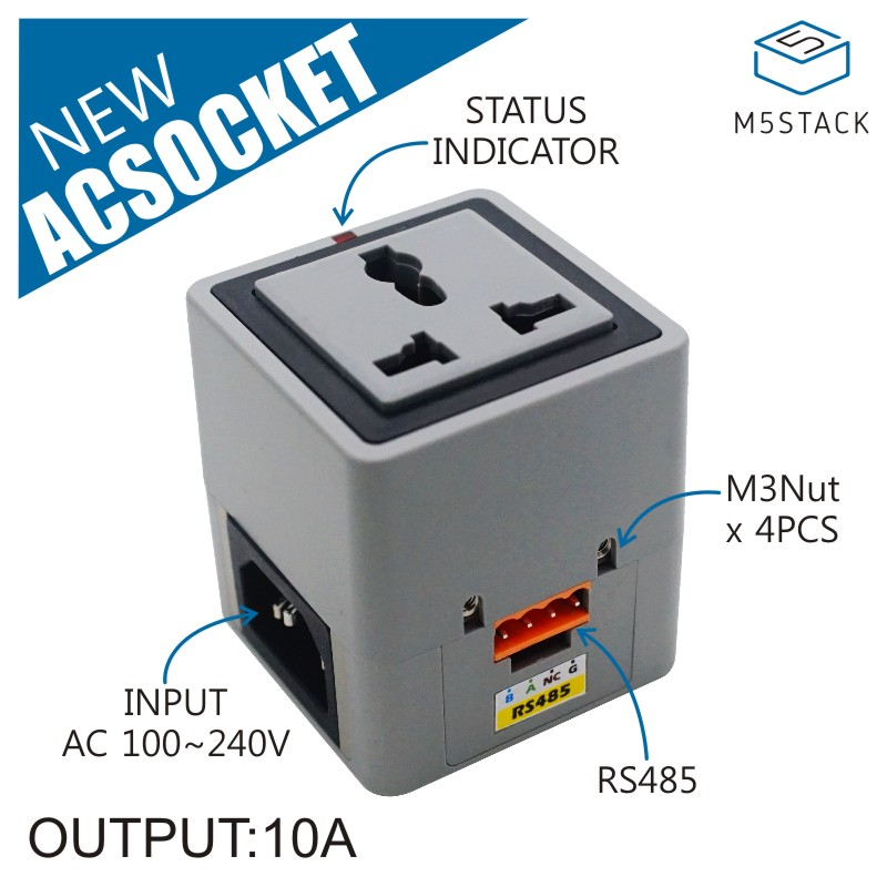M5Stack AC Socket RS485 AC OUTLET Support Mutiple device Series Connection  STM32F030F4