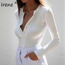 Ирен с v-вырезом и длинным рукавом, боди Для женщин Комбинезоны на пуговицах пикантные узкие Ribber Белые Комбинезоны женские базовые футболки ...