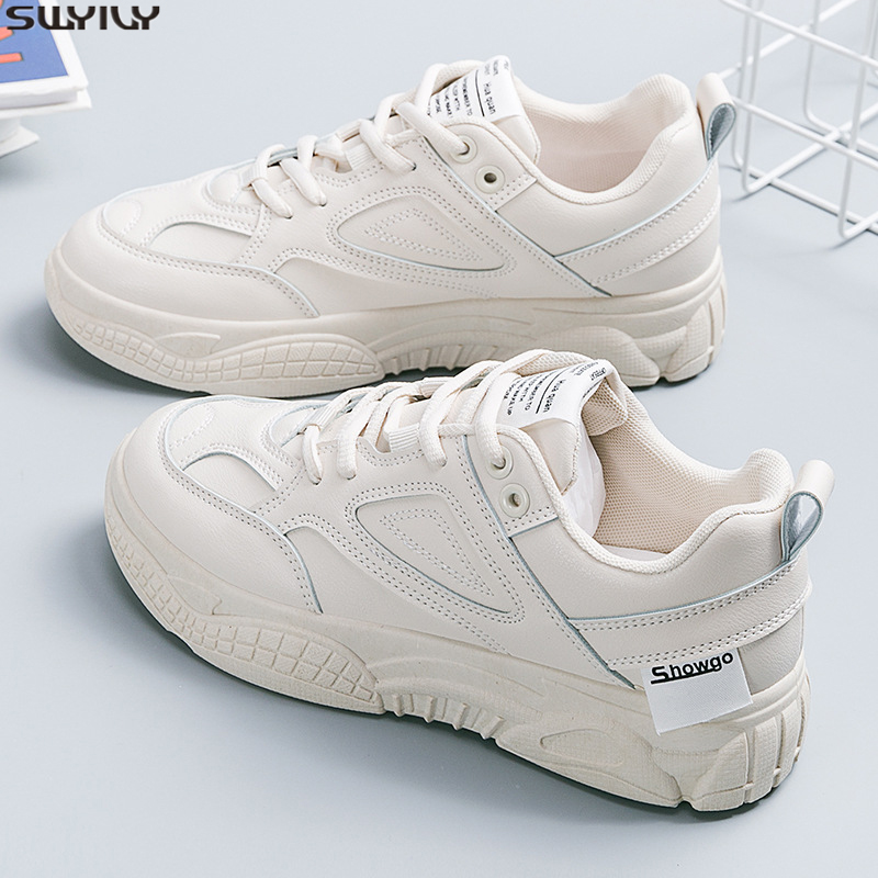 SWYIVY PU Flat Chunky Sneakers Women Casual Shoes Mesh Fashion Female Shoes Woman 2020 Spring White Sneakers For Women Sewing 40