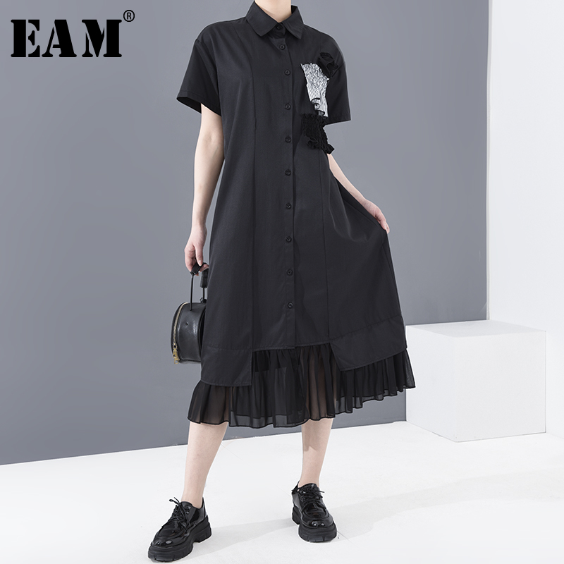 [EAM] Women Black Pleated Mesh Stitch Shirt Dress New Lapel Short Sleeve Loose Fit Fashion Tide Spring Summer 2020 1T74801