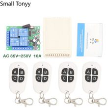 цена на Remote Control 433Mhz 110V 220V 10Amp 2200W 4CH rf Switch Relay Receiver and Transmitter for Garage door and Light Switch