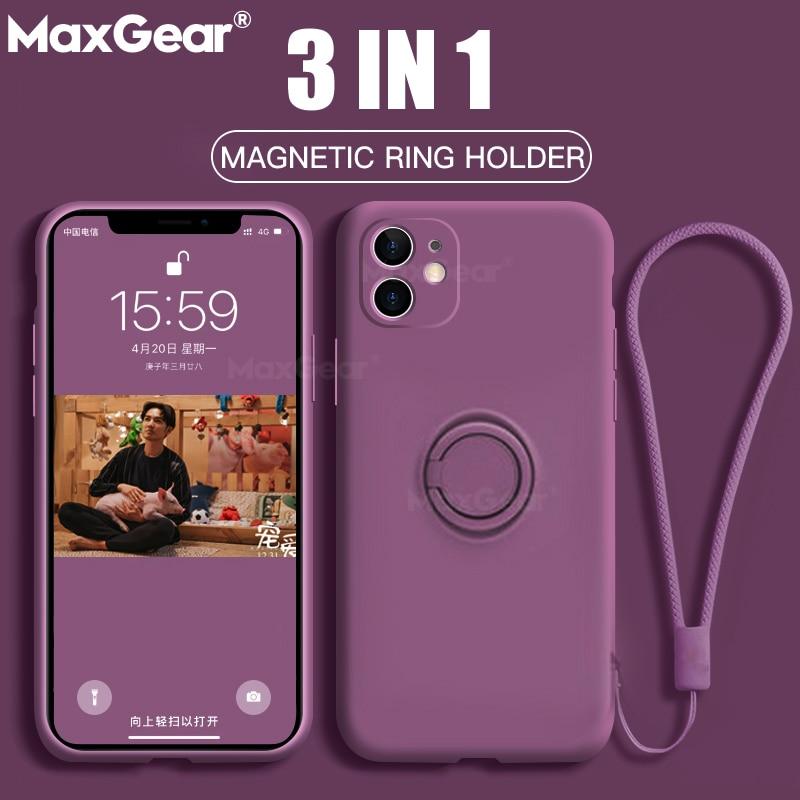 Custodia con supporto per anello magnetico in Silicone originale per iPhone 11 Pro XS max XR XS X 8 7 6s 6 Plus custodia morbida per supporto per auto 1