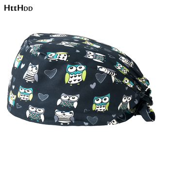 wholesale Multicolor cartoon printing Lab girl sweat-absorbent Pet grooming work hat  Laboratory hat Dust-proof cleaning cap-H22 hope jahren lab girl