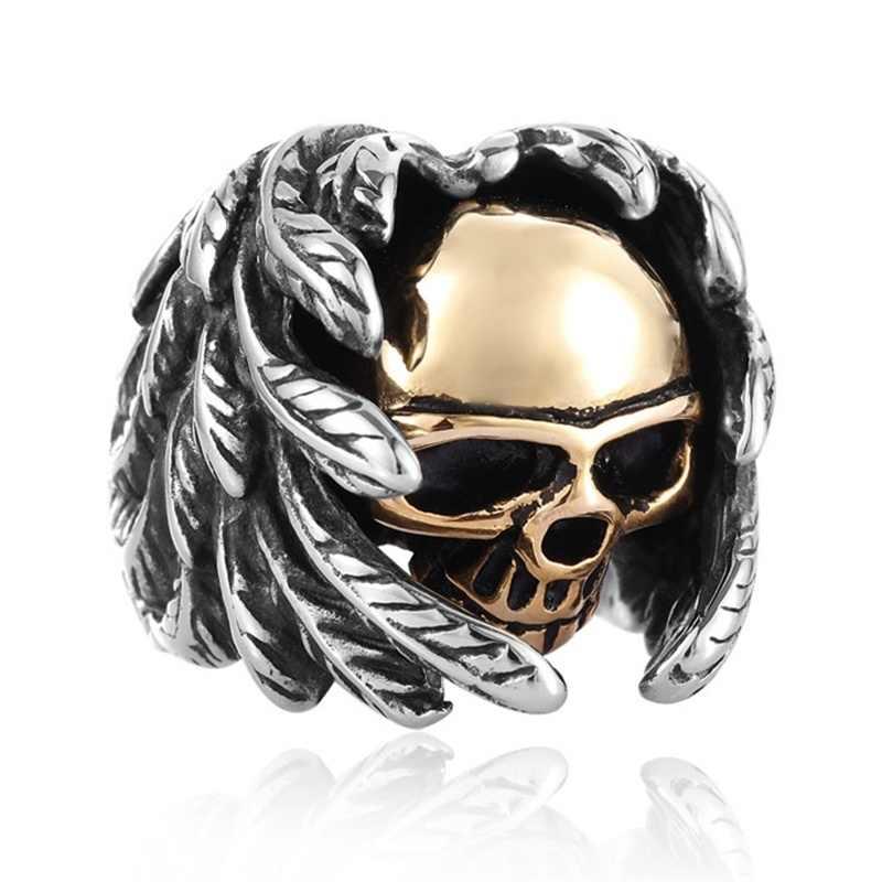 FDLK ผู้ชายเครื่องประดับ VINTAGE Steampunk Gothic Cool BIKER Winged Skull แหวน Punk แหวน-เงิน & amp
