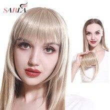 SARLA Clip in Bangs Extension sztuczne włosy syntetyczne Blunt Fringe z długimi bokami dla kobiet Natural Flase Black Brown Blonde B3