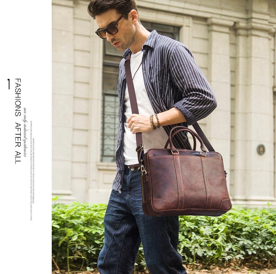CONTACT'S Business Man Bag Vegetable Cow Leather Briefcase Bags For Men Laptop Shoulder Bag Quality Male Handbags Portafolio - 2